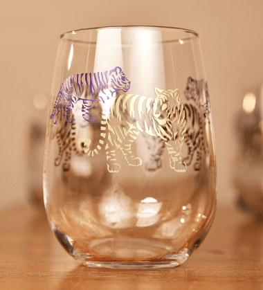 Mignon Faget Tiger Tiger Purple and Gold Stemless